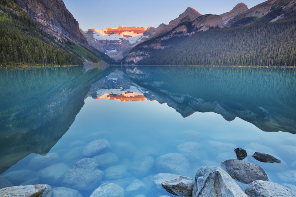 Beautiful Lake Louise in Banff National Park, Canada. Photographed at sunrise.