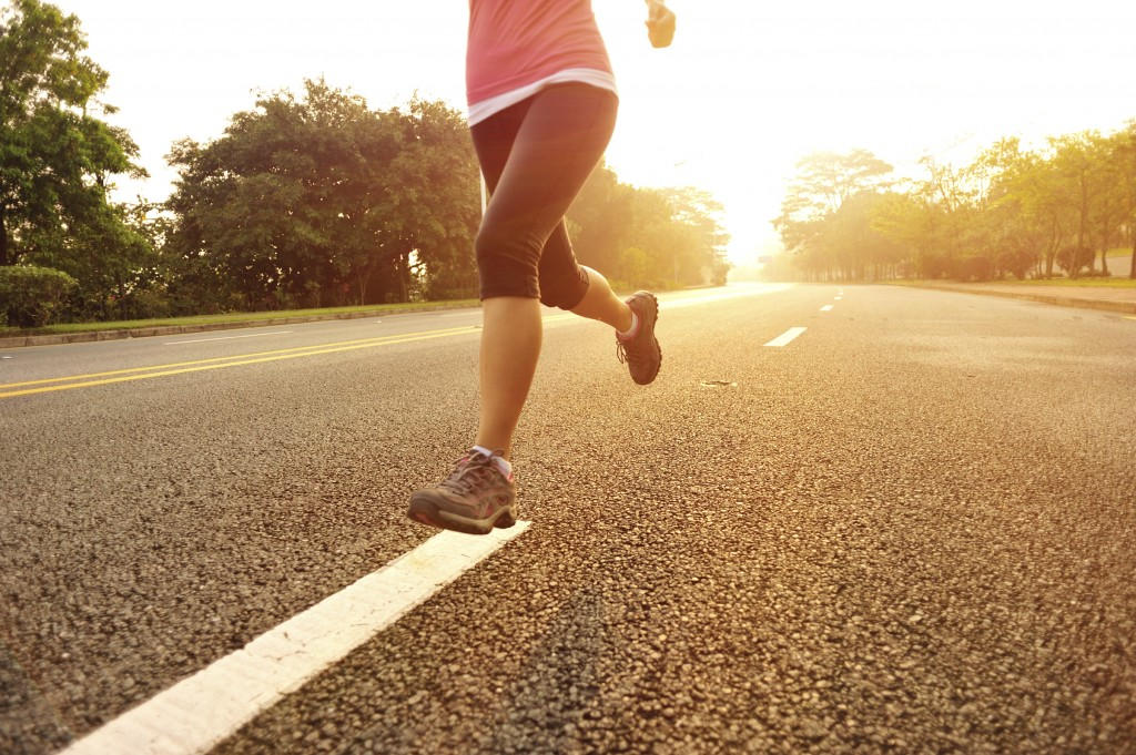 running along a road