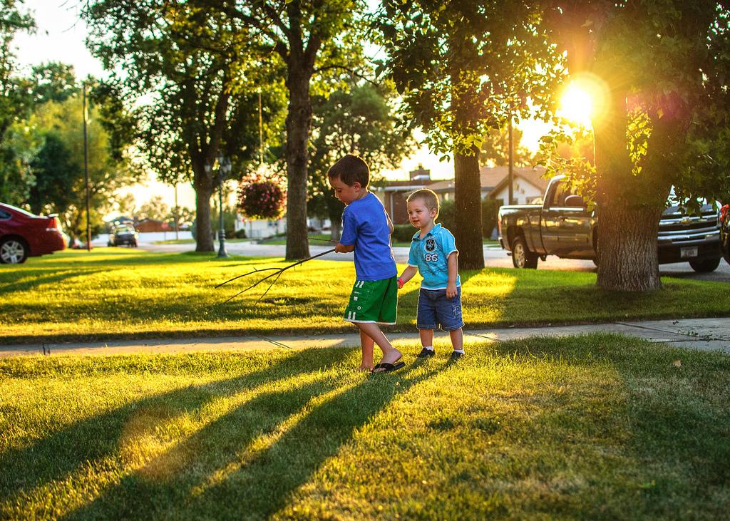 boys on lawn