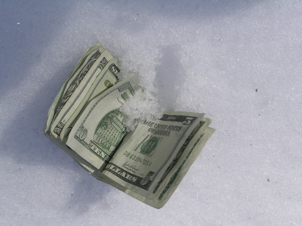 money in snow