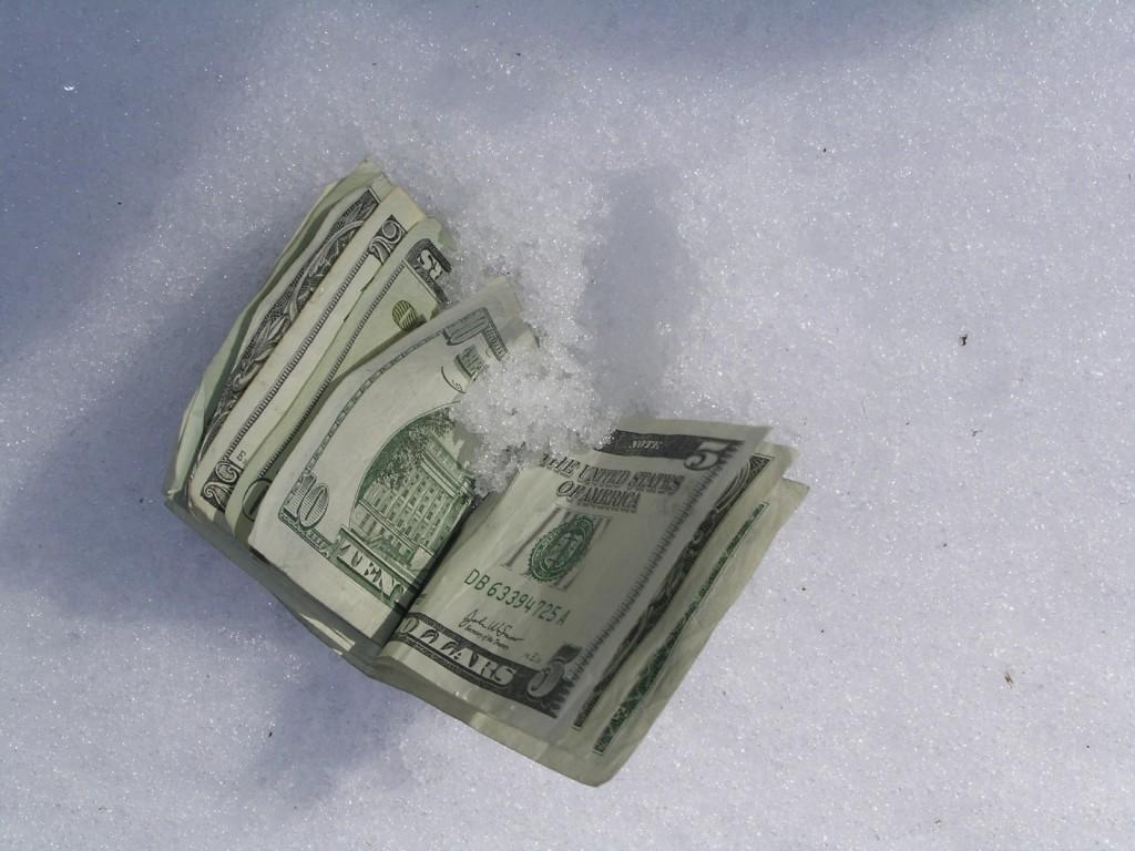 money in snow