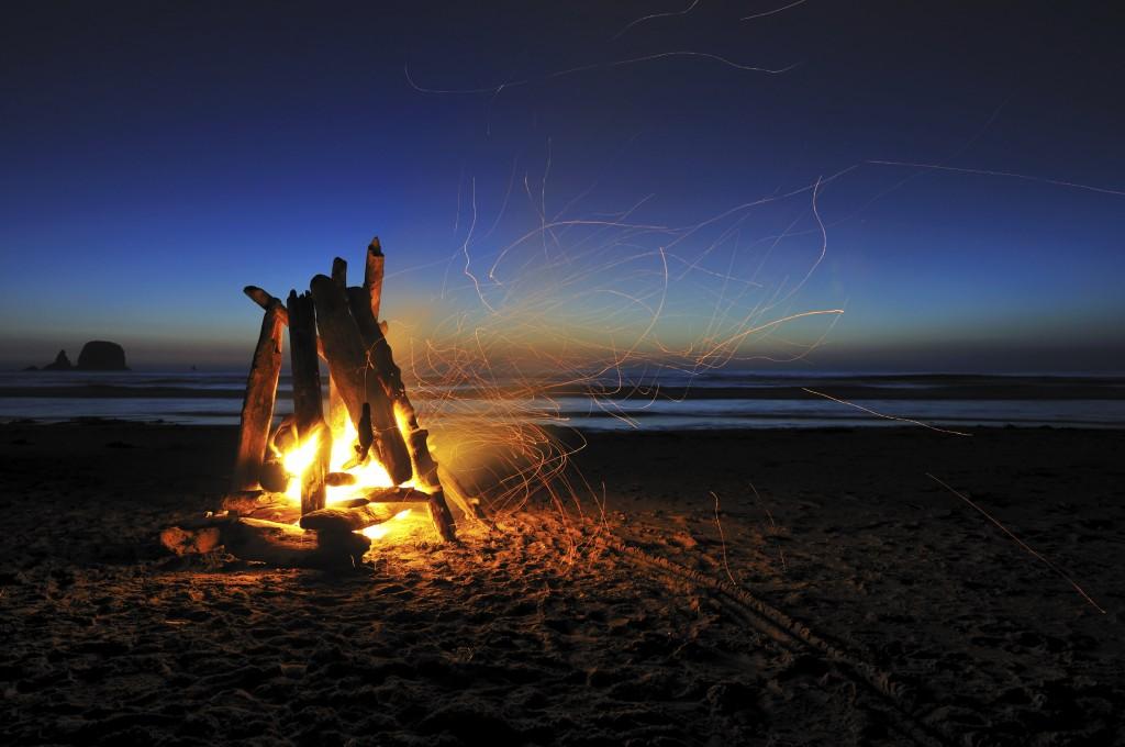 campfire on shi shi beach, olympic national park