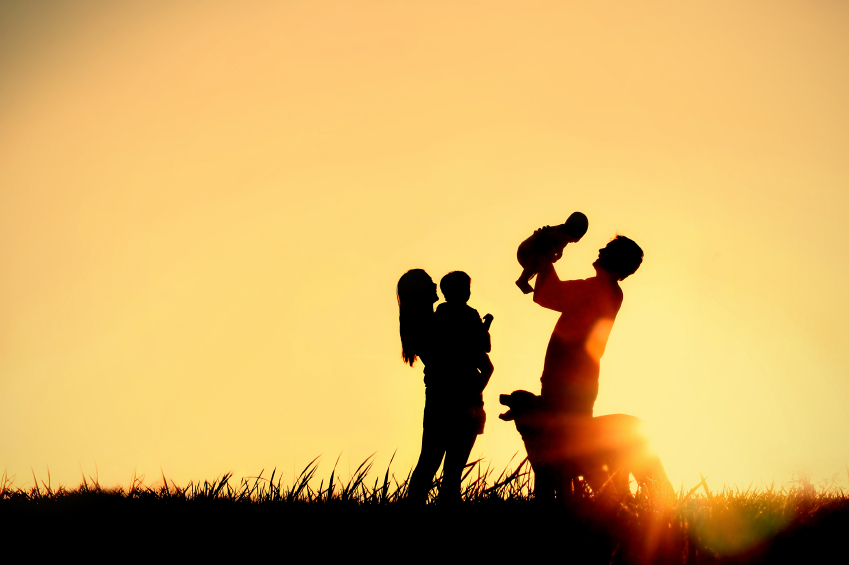 Silhouette of Happy Family and Dog