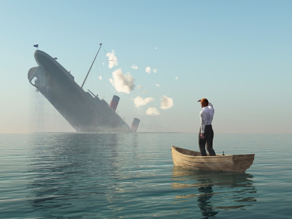 man and sinking ship