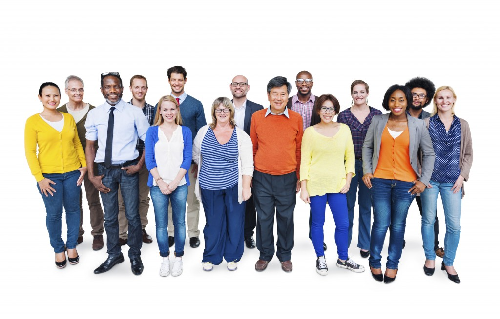Group Of Happy Multi-Ethnic People Standing On A White Backgroun