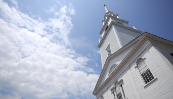 New England Church with room for copy