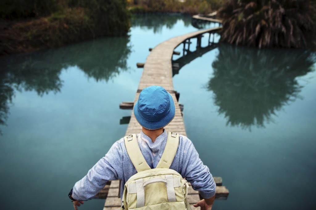 woman on a footbridge