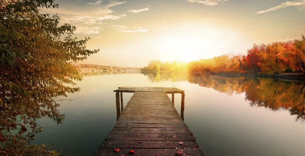 Red autumn and fishing pier