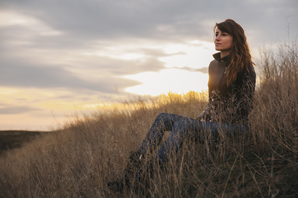 Thoughtful woman. Evening portrait.