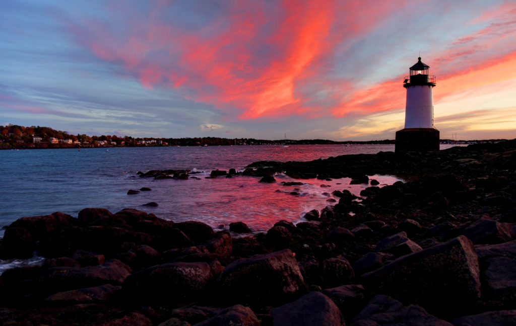 Fort Pickering Light, also known as Winter Island Light was built as one of the Range Lights marking the safe shipping channel into Salem Harbor. It is maintained by the City of Salem.