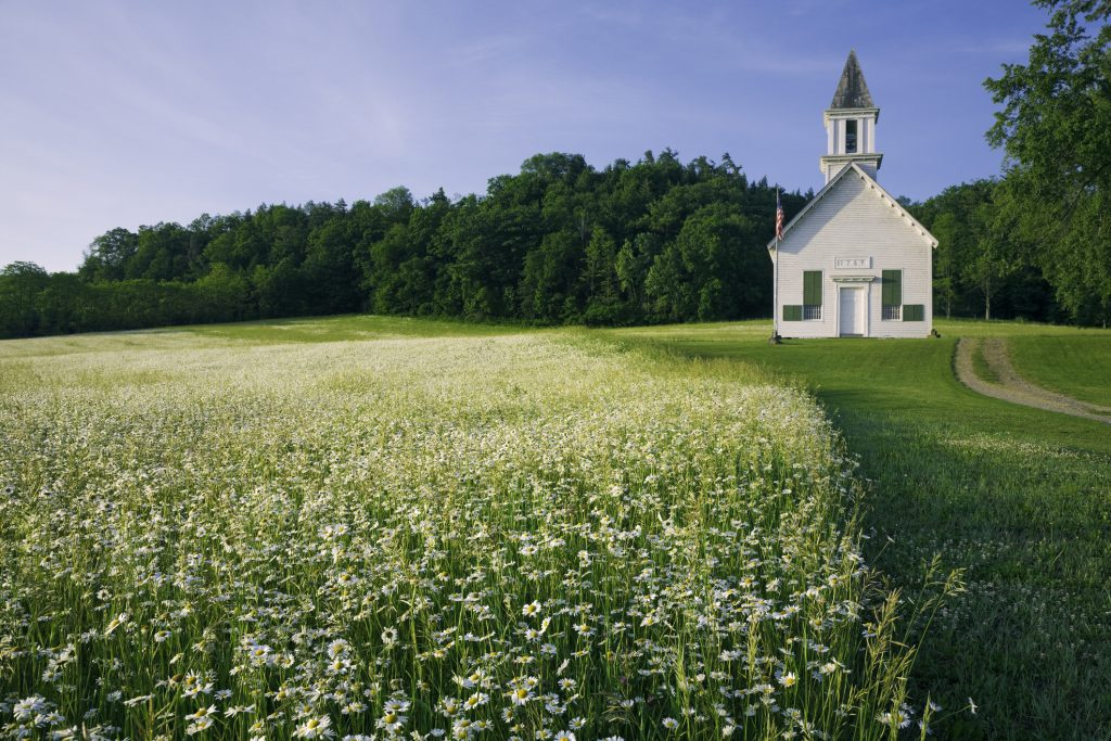 country church in field of daisy wildflowers