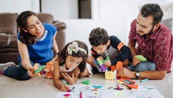 Latino family enjoys weekend together with grandparents and childre